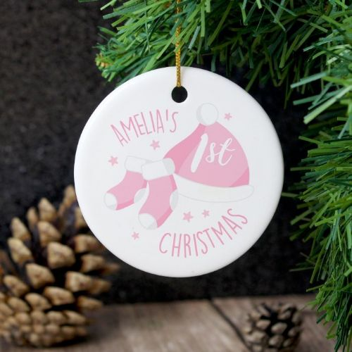 Personalised 1st Christmas Pink Round Ceramic Decoration